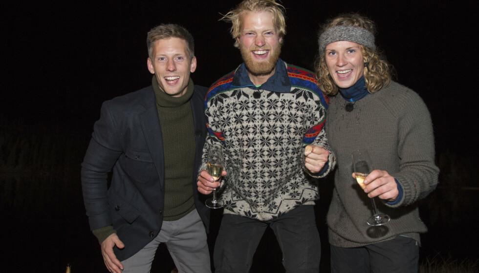 FINALE: Her er Søreide og Eilev Bjerkerud sammen med programleder Gaute Grøtta Grav under finalen høsten 2015. Foto: Morten Eik