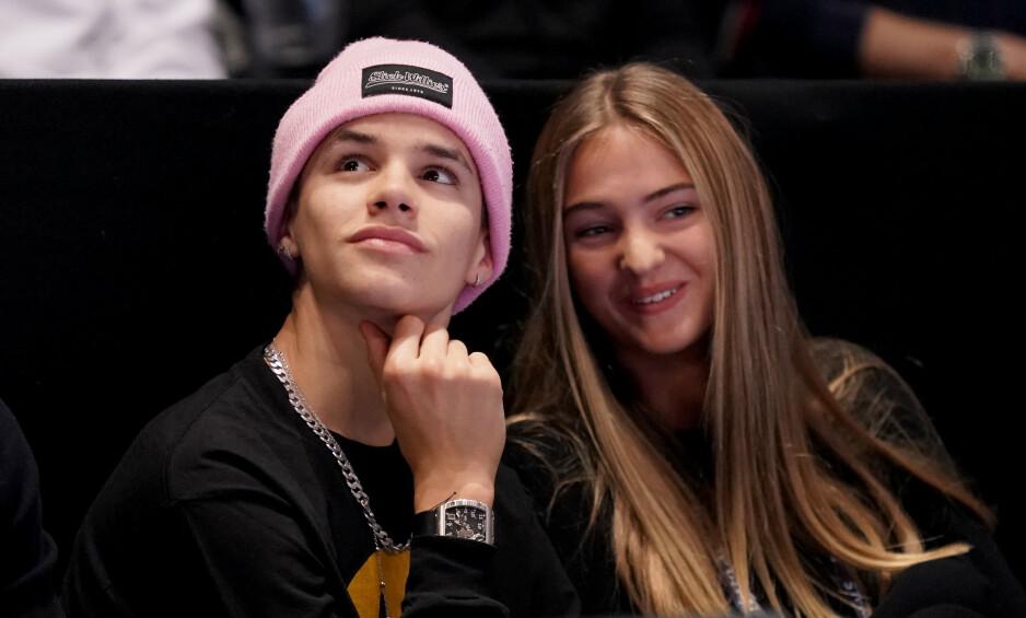 <strong>UNG ROMANSE?:</strong> Nye bilder av kjendissønnen Romeo Beckham og 17 år gamle Mia Roocher setter fart på ryktene om at de har blitt et par. Foto: NTB Scanpix