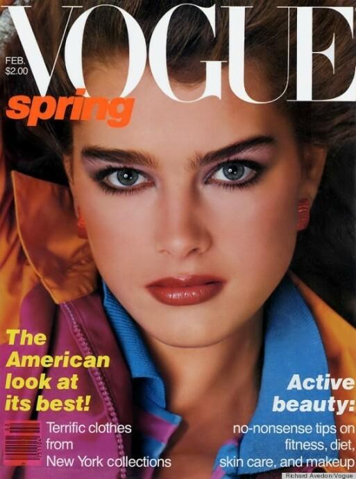 HISTORISK: Brooke Shields ble den yngste modellen til å pryde forsiden av Vogue i februar 1980. Foto: Faksimile fra Vogue