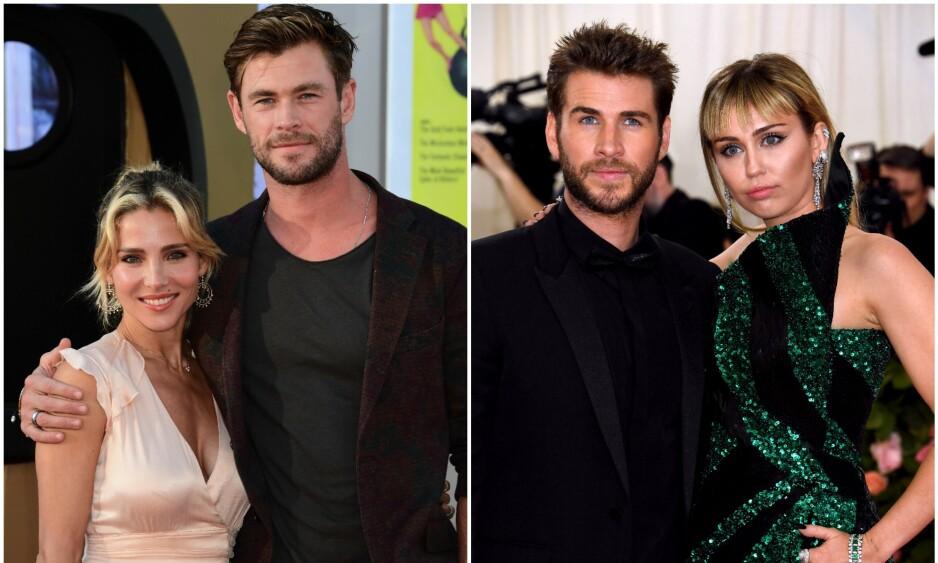 TETT FAMILIE: Elsa Pataky og Chris Hemsworth (t.v) har vært en god støtte for Liam Hemsworth etter sjokkbruddet fra Miley Cyrus for tre måneder siden. Foto: NTB Scanpix