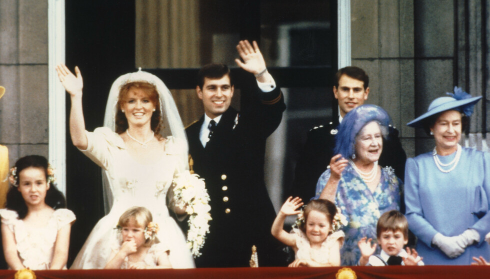 <strong>DEN GANG DA:</strong> I 1986 giftet prins Andrew seg med Sarah Ferguson. Her fra bryllupsdagen 23. juli samme år. Foto: NTB Scanpix