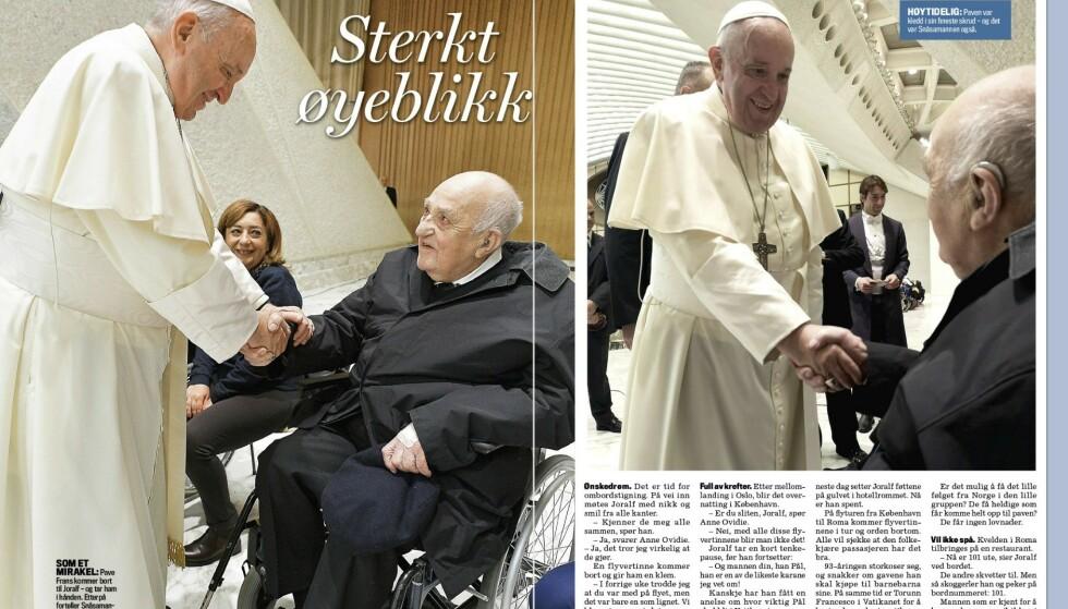 - ET MIRAKEL: Møte mellom pave Frans og Gjerstad beskrives av sistnevnte som et mirakel. Faksimile: Se og Hør