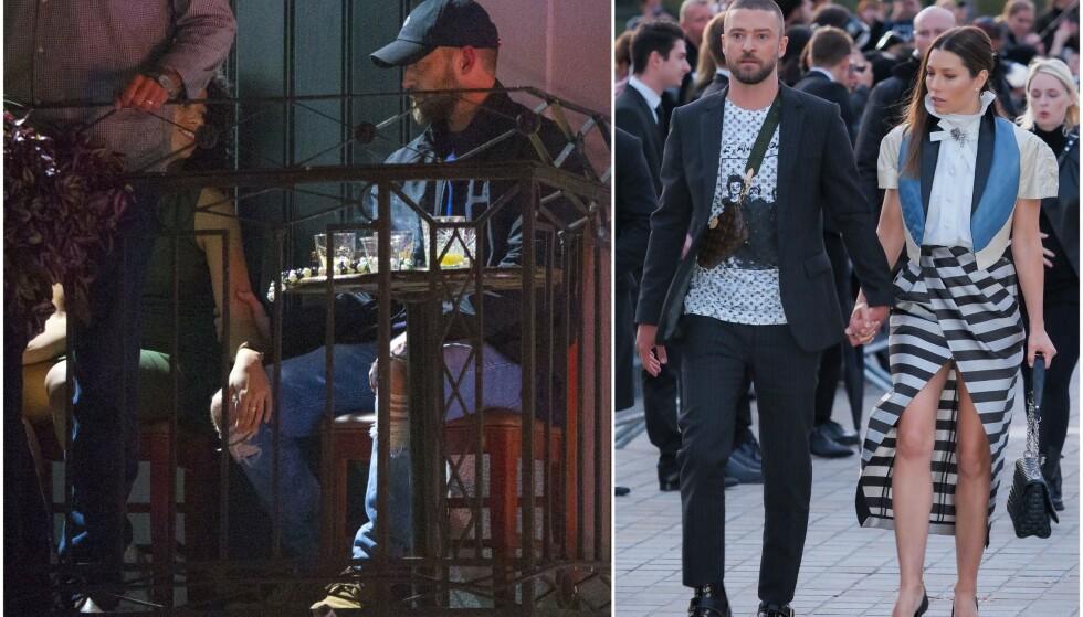 HOLDT HENDER: Torsdag forrige uke ble Justin Timberlake fotografert med motspiller Alisha Wainwright (t.v.) ute på en bar. Det falt neppe i altfor god jord hos kona hans, Jessica Biel (t.h.). Foto: Mega/ NTB scanpix