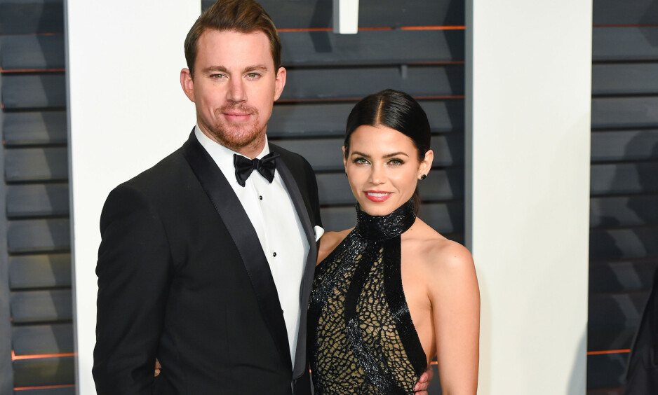 SKILT: Ekteskapet til Channing Tatum og Jenna Dewan ble sett på som et av de mest solide i Hollywood. Nå er de lykkelige på hver sin kant. Her er duoen på Vanity Fairs Oscar-etterfest i 2015. Foto: NTB Scanpix