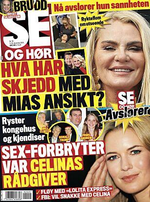 MØTTE EPSTEIN: Se og Hør skriver at Celina Midelfart flere ganger fløy med Jeffrey Epsteins privatfly. Faksimile: Se og Hør