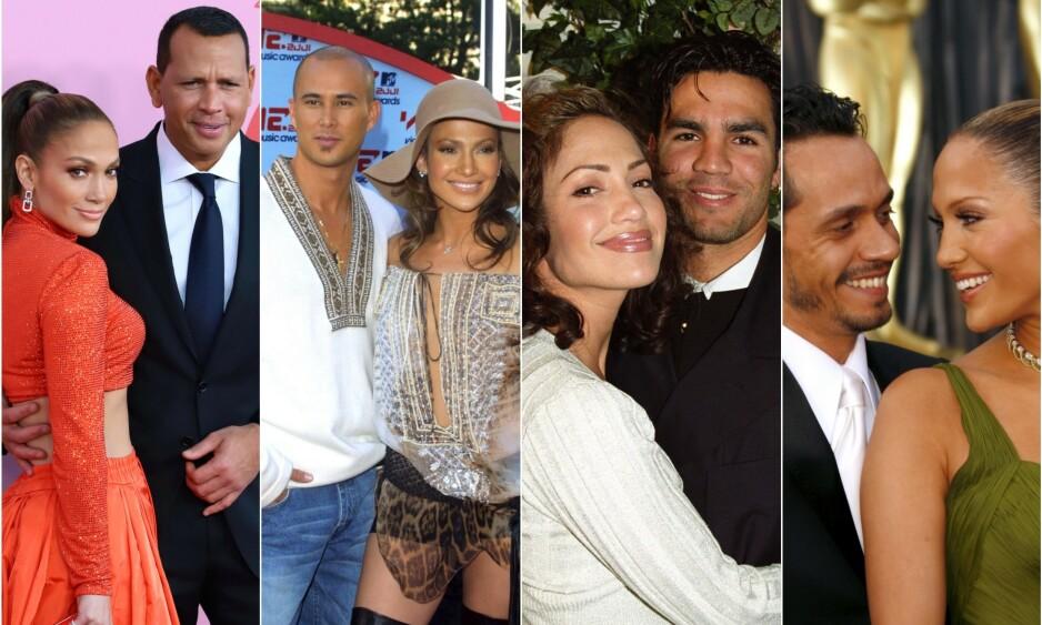 FLERE FORHOLD: Jennifer Lopez er forlovet med Alex Rodriguez (til venstre). Tidligere har hun vært gift med Cris Judd, Ojani Noa og Marc Anthony. I tillegg har sangstjernen en rekke andre forhold bak seg. Foto: NTB Scanpix