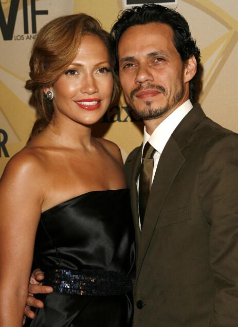 EKTEPAR: Jennifer Lopez og Marc Anthony var offisielt gift fra 2004 til 2014, men gikk fra hverandre allerede i 2011. Sammen har de to barn. Her er eksparet i 2006. Foto: NTB Scanpix