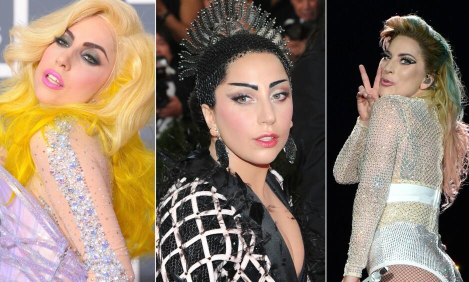 NOE FOR ENHVER SMAK: Popstjernen og skuespilleren Lady Gaga er kjent for å eksperimentere med utseendet sitt. Nå røper Gagas personlige hårstylist bakgrunnen for noen av de mest vågale hårfrisyrene. Foto: NTB Scanpix