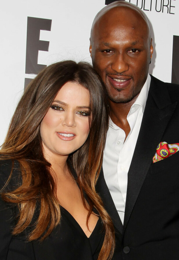 REKORDFART: Khloé Kardashian og Lamar Odom giftet seg bare ni dager etter at Odom fridde. Her er de avbildet i 2012. Foto: NTB Scanpix