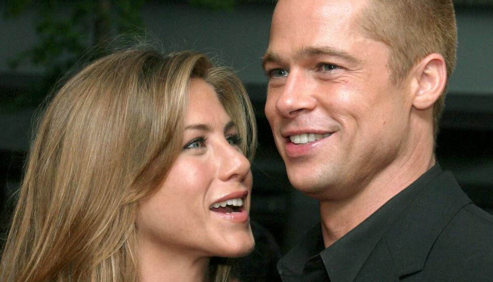 OVERBEVIST: Fansen håper iherdig på at Brad Pitt og Jennifer Aniston skal finne tilbake til hverandre, og et nytt bilde bidrar godt til spekulasjonene. Foto: Sara Jaye/REX/NTB