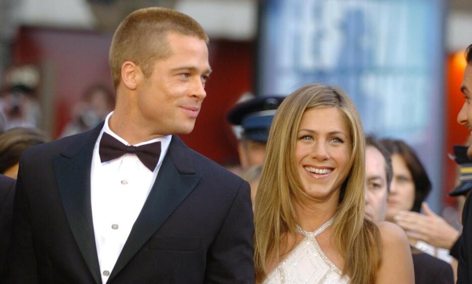 GJENFORENT: Brad Pitt dukket angivelig opp på fest hos Jennifer Aniston i helgen, og puster dermed nytt liv i fansens romanserykter. Foto: NTB Scanpix