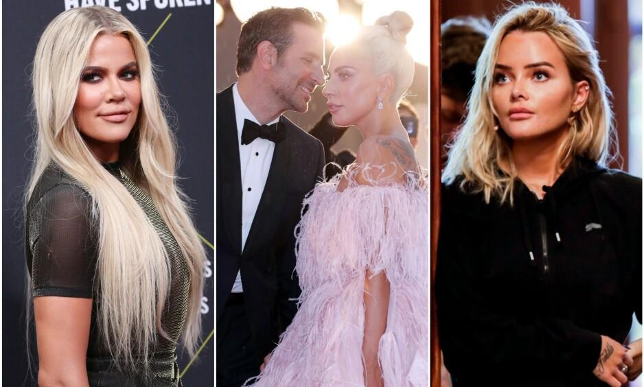 HAR SATT AVTRYKK: Khloé Kardashian (35), Lady Gaga (33), Bradley Cooper (44) og Sophie Elise Isachsen (25) gjorde alle inntrykk på oss, og sørget for store overskrifter, gjennom året som gikk. Vi har oppsummert kjendis-snakkisene fra 2019. Foto: NTB Scanpix