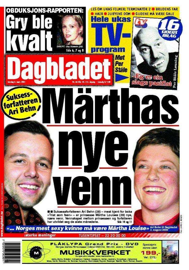 FØRSTE MØTE: Denne forsida av Dagbladet introduserte Ari Behn i relasjon til prinsessen. Foto: Faksimile