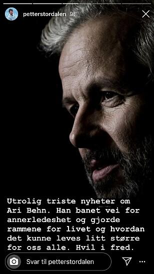 KONDOLANSE: Petter Stordalen kom også med noen gode ord om Ari Behn. Foto: Skjermdump fra Instagram.