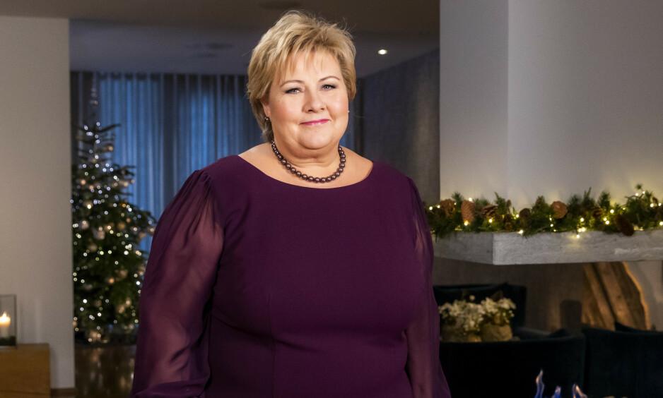 NYTTÅRSTALEN: Statsminister Erna Solberg avbildet i forbindelse med fjorårets nyttårstale, som ble holdt i statsministerboligen. Foto:Håkon Mosvold Larsen / NTB scanpix
