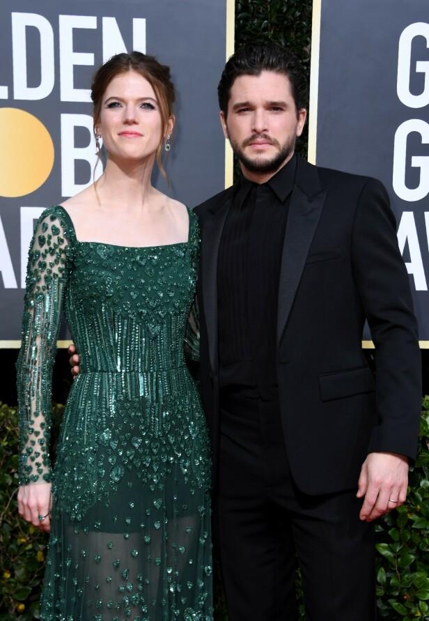 <strong>EKTEPAR:</strong> «Game of Thrones»-stjernene Rose Leslie og Kit Harington. Foto: NTB Scanpix