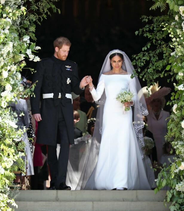 TREKKER SEG: Harry og Meghan giftet seg foran hele verden i mai 2018. Nå trekker de seg tilbake fra sine offentlige roller. Foto: NTB Scanpix
