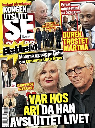 EKSKLUSIVT: Det er i tirsdagens utgave av Se og Hør at Marianne Behn og Olav Bjørshol åpner seg om Aris bortgang. Foto: Faksimile