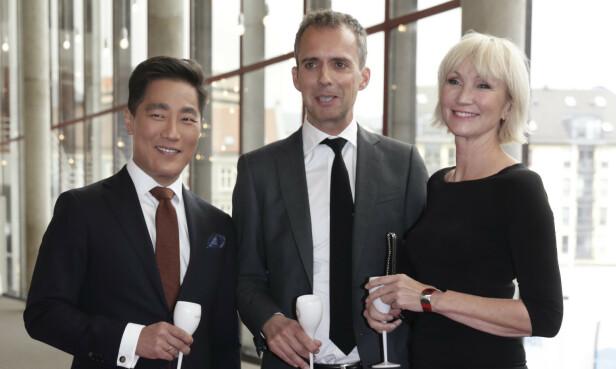NRK: Fredrik Solvang, Jarle Roheim Håkonsen og Nina Owing under Gullruten 2017. Foto: NTB Scanpix