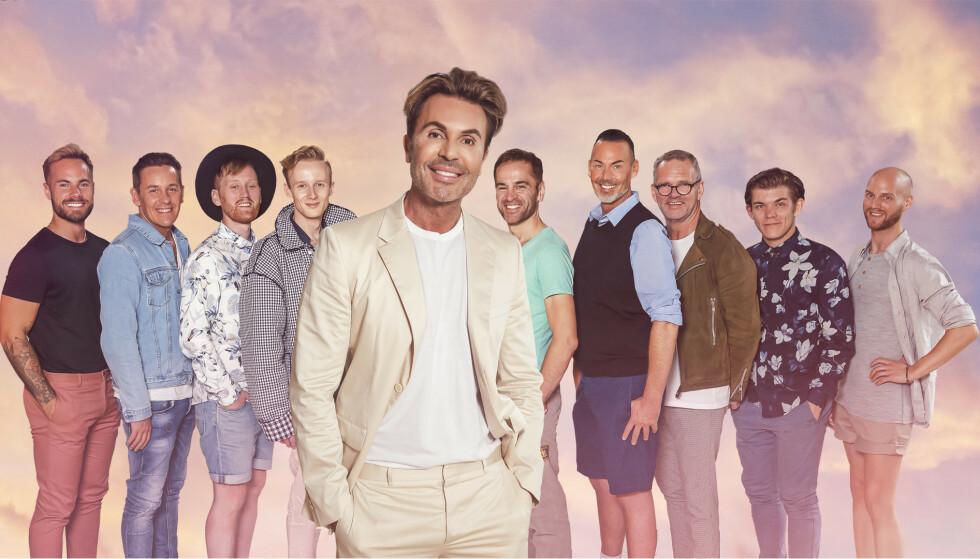 VALGETS KVAL: Disse 12 mennene skal alle kjempe om hjertet til 53-åringen. Foto: TVNorge