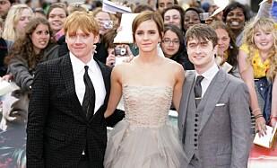 RØD LØPER: Her på Harry Potter-premiere med kollegaene Rupert Grint og Emma Watson i 2011. Foto: NTB Scanpix.