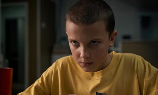 ELEVEN: Slik er fans vant til å se den unge «Stranger Things»-skuespilleren, der hun spiller rollen som Eleven. Foto: NTB Scanpix