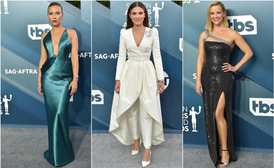 RØD LØPER: Flere av verdens største skuespillere var natt til mandag samlet i forbindelse med SAG Awards. Se flere antrekk nedover i saken. Foto: NTB Scanpix