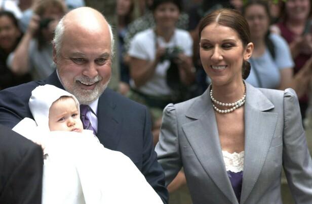 MANN OG KONE: Tross den store aldersforskjellen, var Dion svært lykkelig med ektemannen. Foto: NTB Scanpix