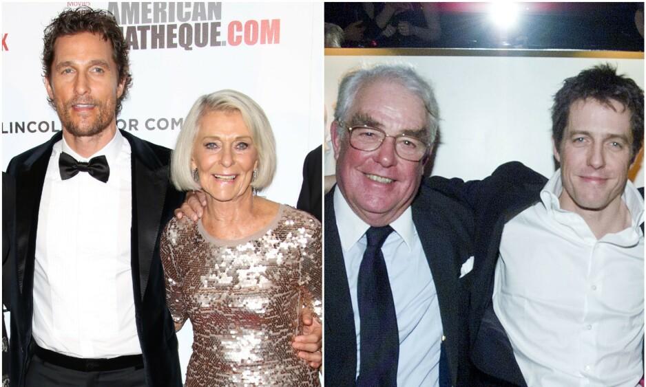 SINGLE FORELDRE: Her er Matthew McConaughey med moren Mary i 2014, mens Hugh Grant og faren James poserer sammen i 2001. Foto: NTB Scanpix
