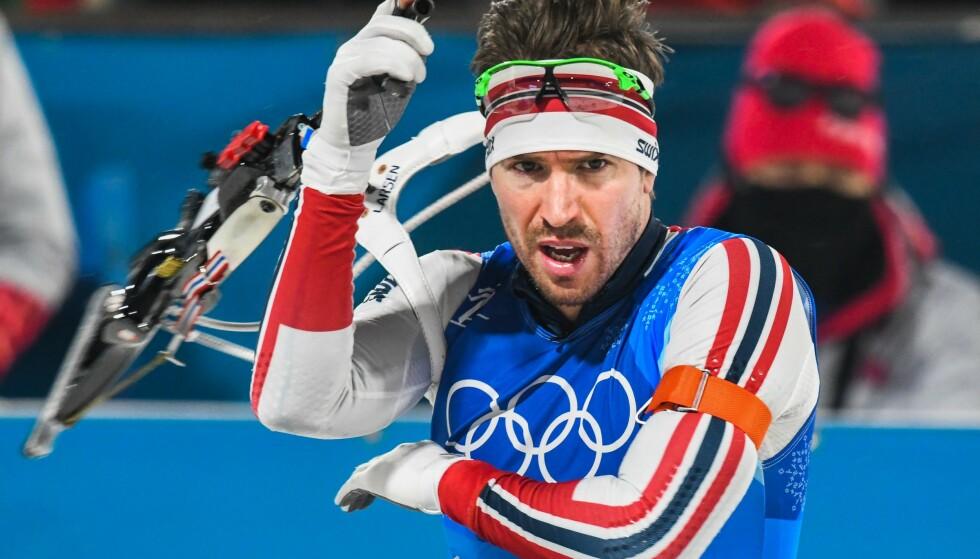 <strong>MERITTERT:</strong> Emil Hegle Svendsen har hele 16 internasjonale titler i skiskyting. Her er han avbildet under OL i Pyeongchang i 2018. Foto: NTB Scanpix