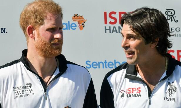 <strong>VENNER:</strong> Prins Harry og Nacho Figueras har spilt polo sammen i en årrekke. Figueras var også blant bryllupsgjestene da Harry og Meghan giftet seg i 2018. Foto: NTB Scanpix