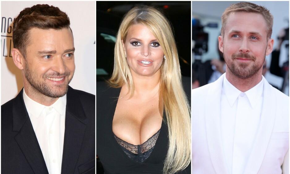<strong>GAMLE VENNER:</strong> Justin Timberlake, Jessica Simpson og Ryan Gosling er alle jevngamle, og har kjent hverandre helt siden de var 12 år. Foto: NTB Scanpix