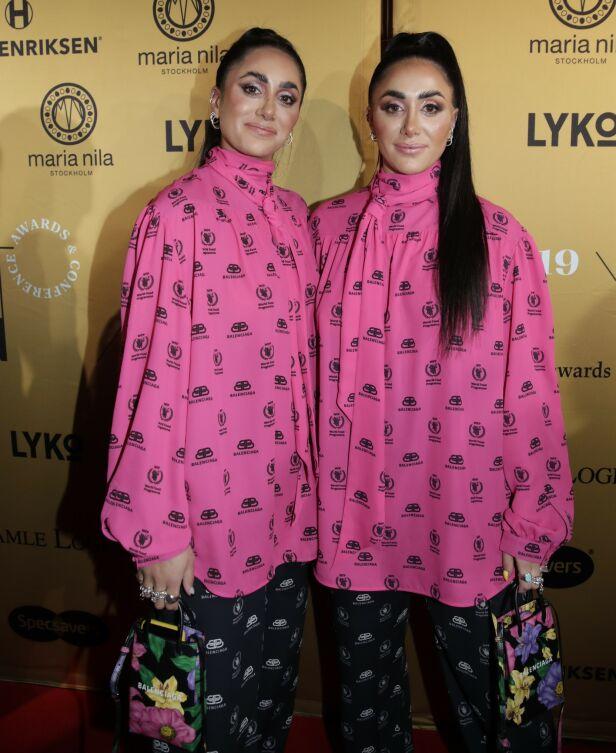 PÅ RØD LØPER: Vita og Wanda stilte i matchende antrekk fra Balenciaga på den røde løperen før Vixen-utdelingen. Foto: Vidar Ruud / NTB Scanpix