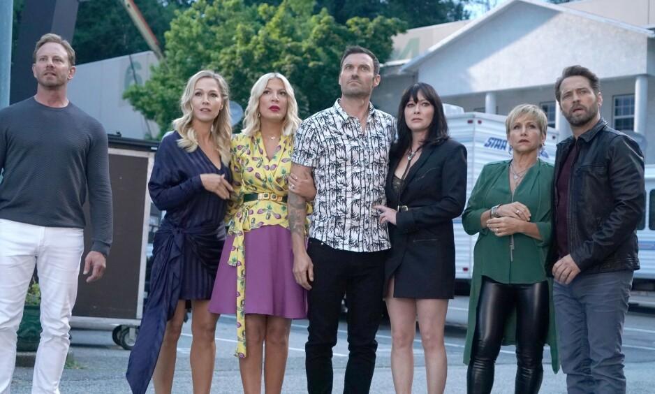 TILBAKE: I 2019 gjorde gjengen fra «Beverly Hills 90210» comeback - inkludert Shannen Doherty (nr. tre fra høyre). Foto: NTB Scanpix
