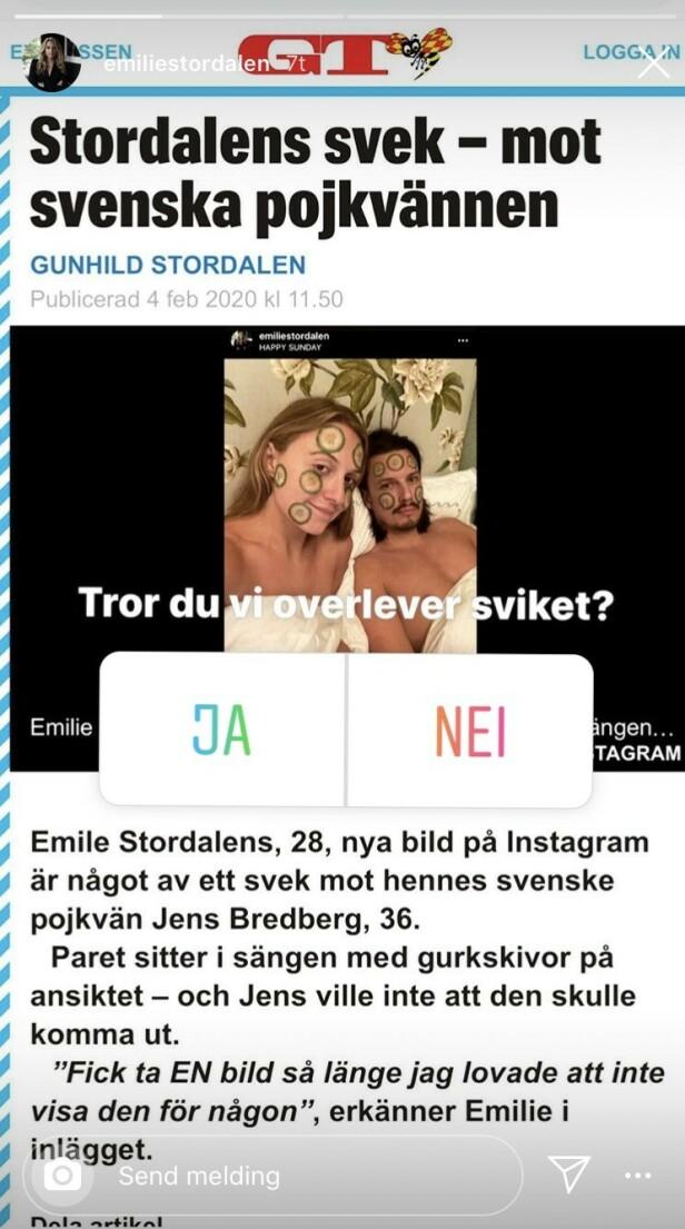 SVARER: Emilie Stordalen kom med et sarkastisk stikk til svenske Expressen. Foto: Skjermbilde fra Instagram