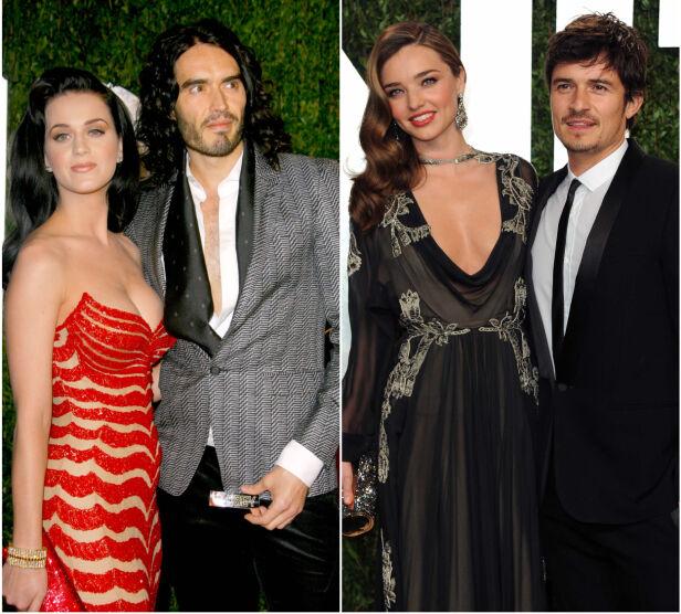 EKSER: Mens Katy Perry var gift med Russell Brand, var Orlando Bloom gift med Miranda Kerr. Her er de tidligere ekteparene fotografert på Vanity Fairs Oscar-fest i henholdsvis 2010 og 2013. Foto: NTB scanpix