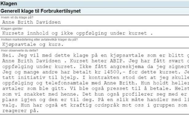 KLAGE: Denne klagen, som Se og Hør har fått innsyn i, skal Forbrukertilsynet nå vurdere. Foto: Skjermdump/Forbrukertilsynet
