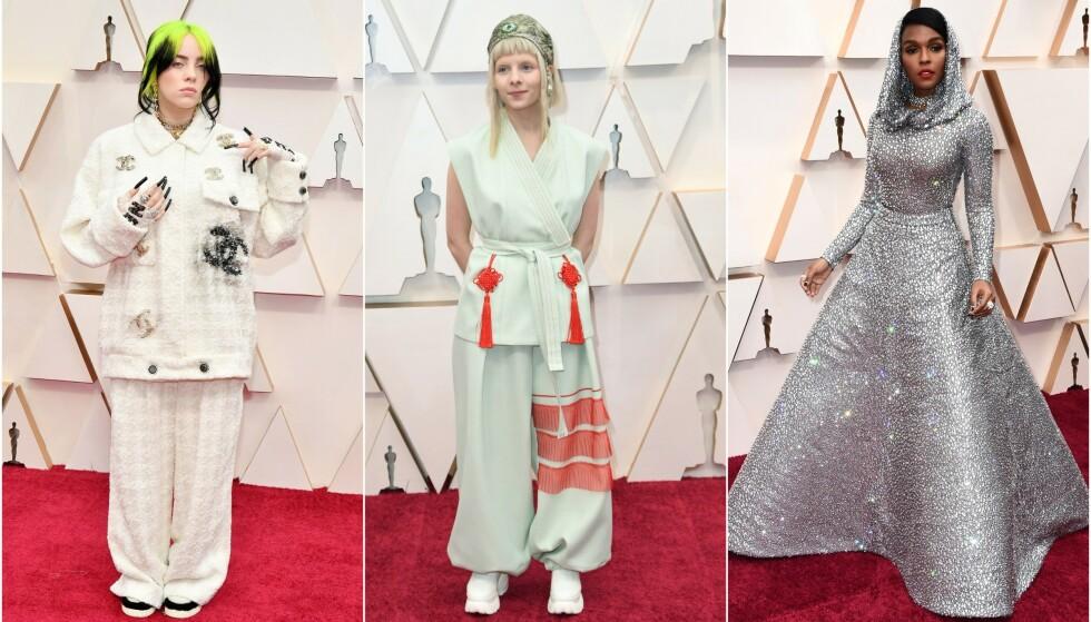 STJAL SHOWET: Natt til mandag ankom flere av verdens største stjerner den årlige Oscar-utdelingen i Hollywood. Billie Eilish, norske Aurora Aksnes og Janelle Monáe var blant stjernene som skapte overskrifter. Foto: NTB scanpix