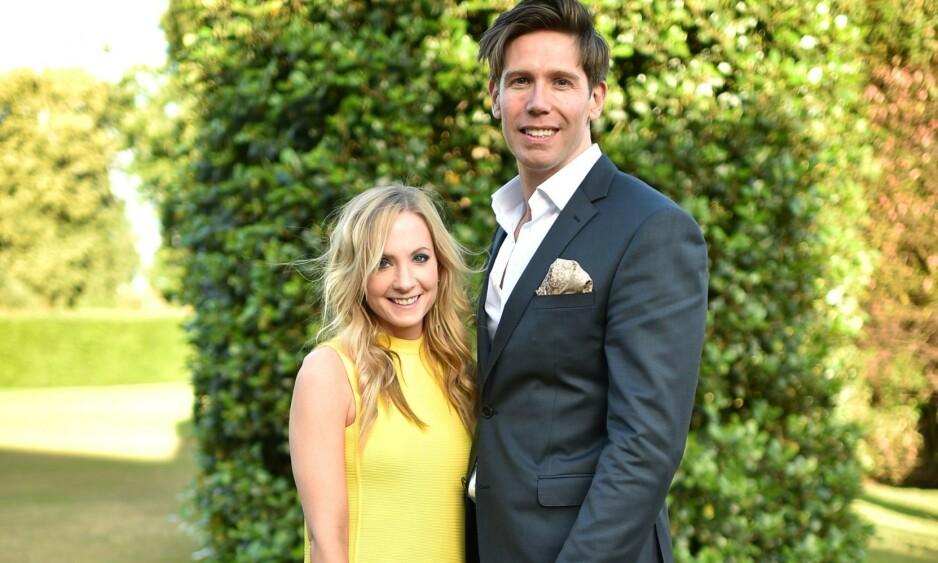 BRUDD: Kjærligheten holdt ikke for Joanne Froggatt og James Cannon. Her er duoen avbildet på et cocktail party i London sommeren 2015. Foto: NTB Scanpix