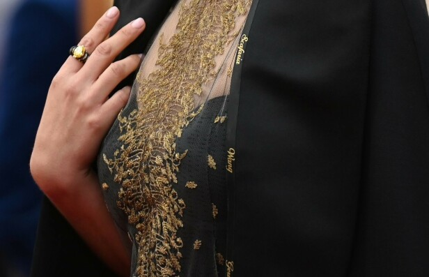 <strong>HYLLER REGISSØRER:</strong> Natalie Portman dukket opp på den røde løperen i en kjole brodert med kvinnelige regissørers navn. Foto: NTB scanpix