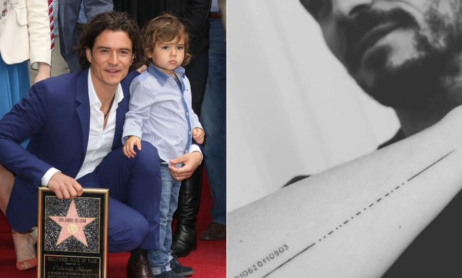 VILLE HYLLE SØNNEN: Orlando Bloom skulle hedre sønnen Flynn (9) med en tatovering. Det gikk ikke helt som planlagt. Her er far og sønn avbildet sammen i 2014. Foto: NTB Scanpix/ Skjermdump fra Instagram