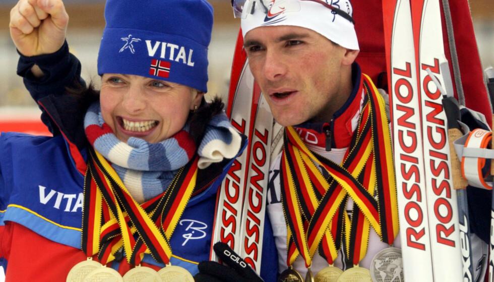 SUPERPAR: Liv Grete og Raphaël har begge imponerende karrierer bak seg. I mange år var det et av Norges mest profilerte idrettspar. Her avbildet i 2004. Foto: NTB scanpix