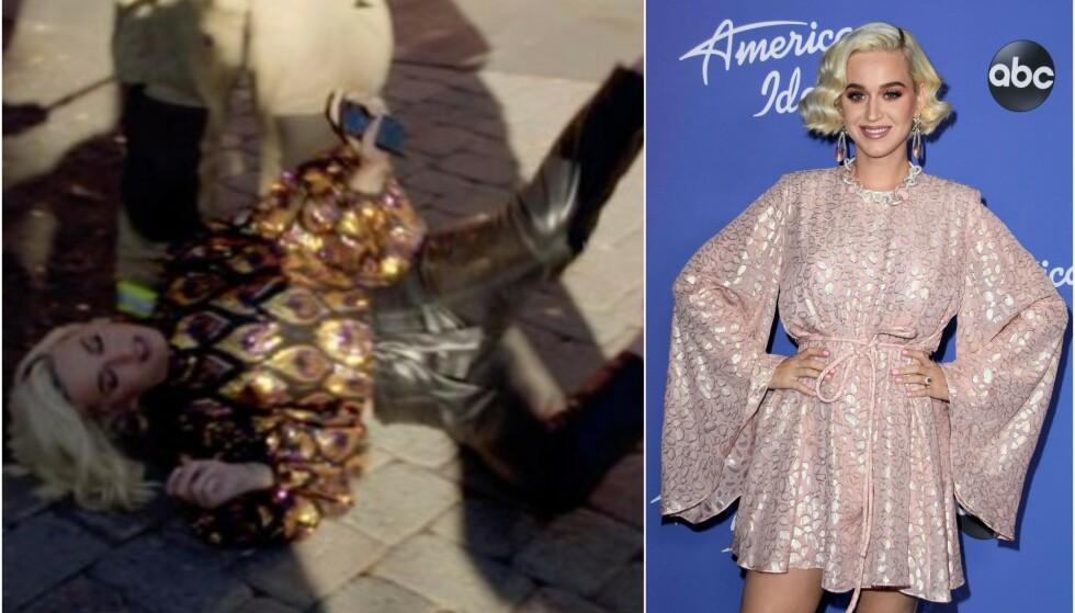 KOLLAPSER: Katy Perry kollapser under den kommende episoden av «American Idol». Foto: ABC/ NTB scanpix