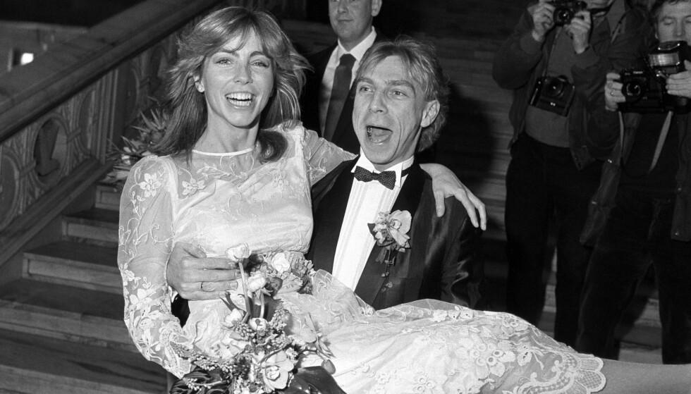 KJENDISBRYLLUP. Anita Skorgan og Jahn Teigen ble viet i Oslo Rådhus 17. februar 1984. Foto: Henrik Laurvik / NTB Scanpix