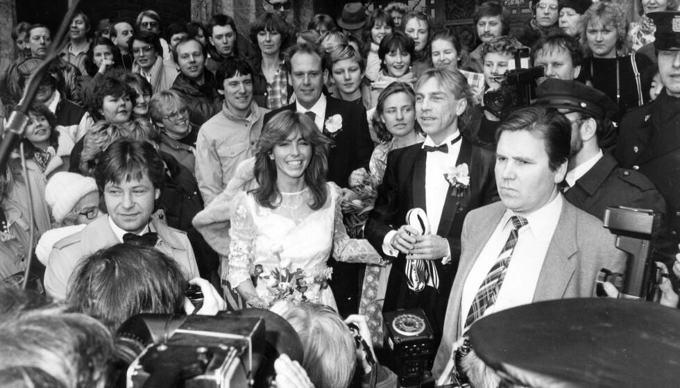 1984: Tusenvis av mennesker møtte opp for å se Jahn Teigen og Anita Skorgan etter vielsen i Oslo Rådhus. Foto: Svend Aage Madsen