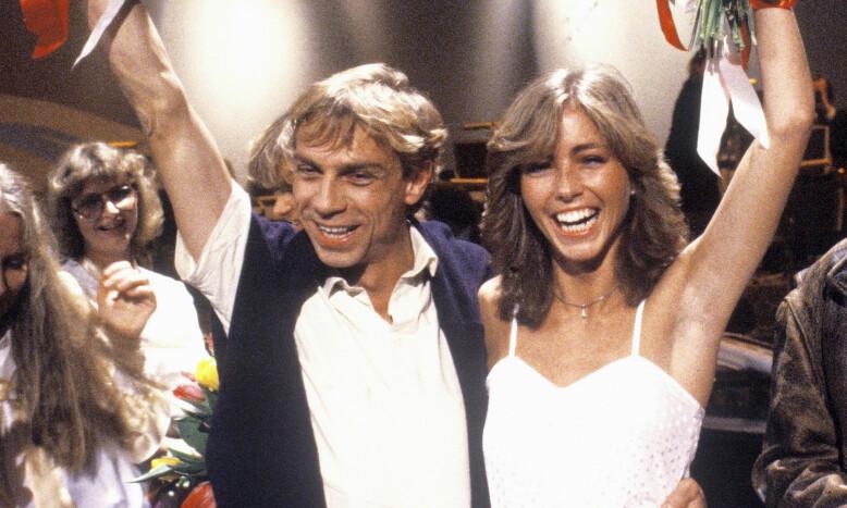 SEIER: I 1982 vant Jahn Teigen og Anita Skorgan den norske finalen i Melodi Grand Prix med sangen «Adieu». Her jubler de etter seieren. Foto: Erik Thorberg / NTB Scanpix