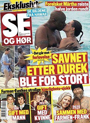 FORELSKET: De nye bildene av Märtha og Durek motbeviser bruddryktene som har sirkulert den siste tiden. Foto: Faksimile fra Se og Hør