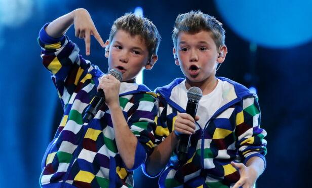 STARTEN PÅ EVENTYRET: Marcus og Martinus Gunnarsen vant Melodi Grand Prix Junior med den passende låta «To dråper vann». Foto: Håkon Mosvold Larsen / NTB Scanpix