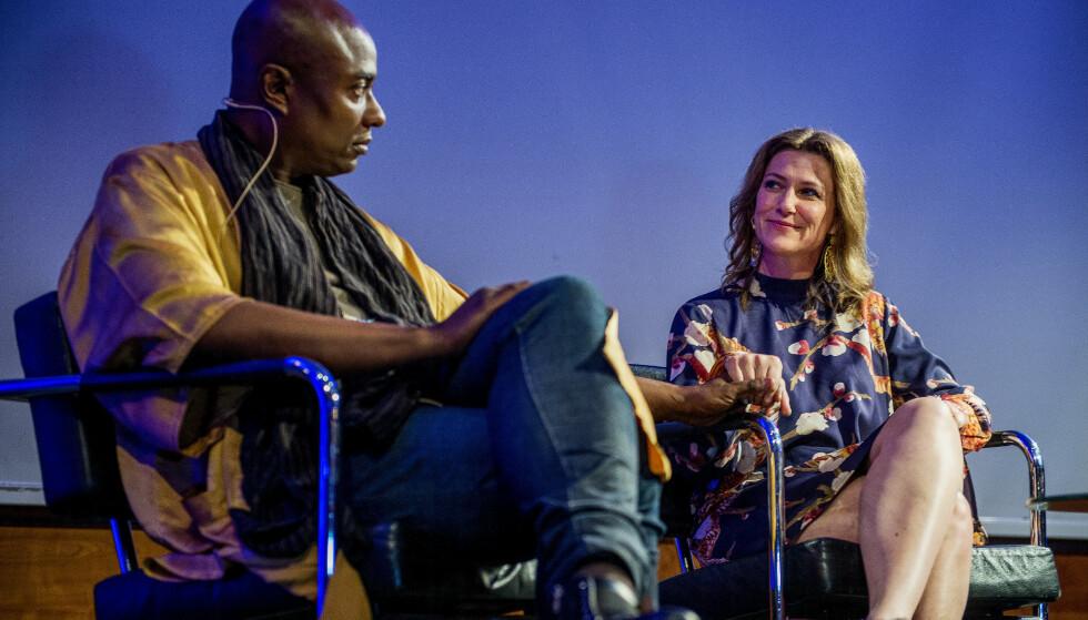FOREDRAG: Märtha Louise og Durek Verrett avbildet under foredraget sitt i Stavanger i fjor. Foto: NTB Scanpix