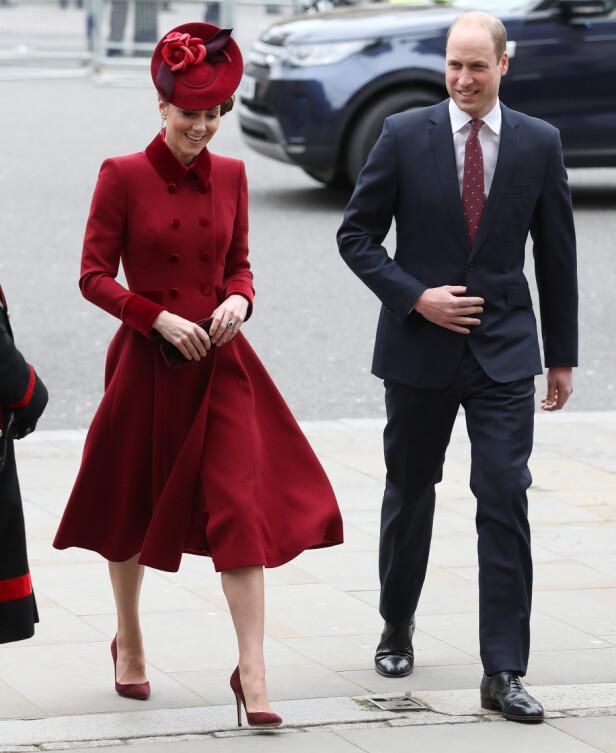 RØDT: Hertuginne Kate og prins William var selvskrevne gjester under arrangementet. Foto: NTB Scanpix